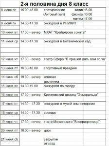 Расписание ЛШ 8 2014 2