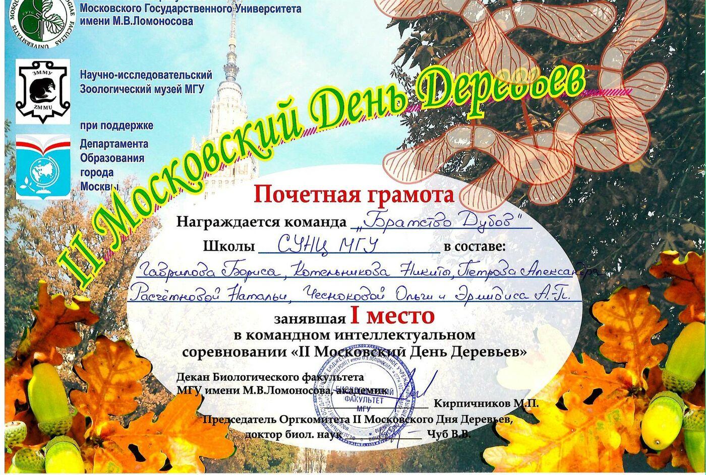 Поздравляем победителей второго Московского Дня Деревьев